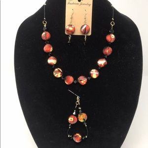 Jewelry - Beaded necklace, bracelet and earrings set